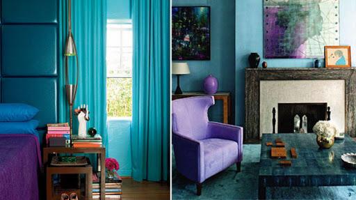 бирюзовый и фиолетовый цвет в интерьере