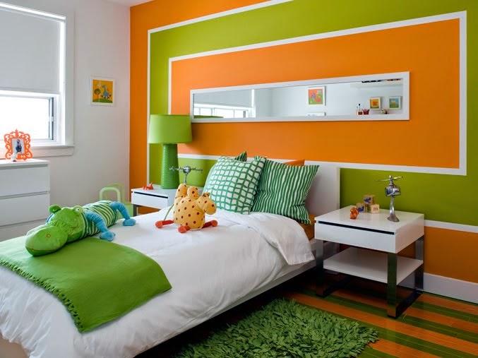 фисташковый и оранжевый в интерьере