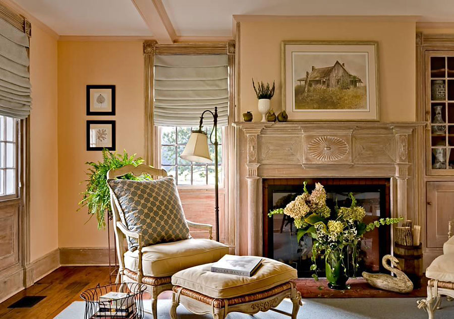 персиковый и бежевый цвет в интерьере