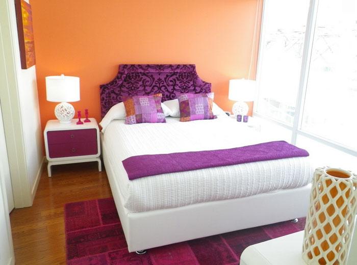 персиковый и фиолетовый цвет в интерьере