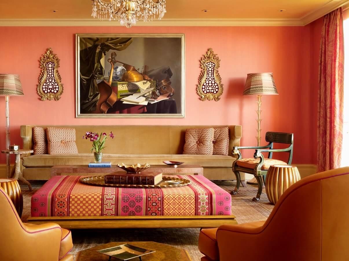 персиковый интерьер в восточном стиле