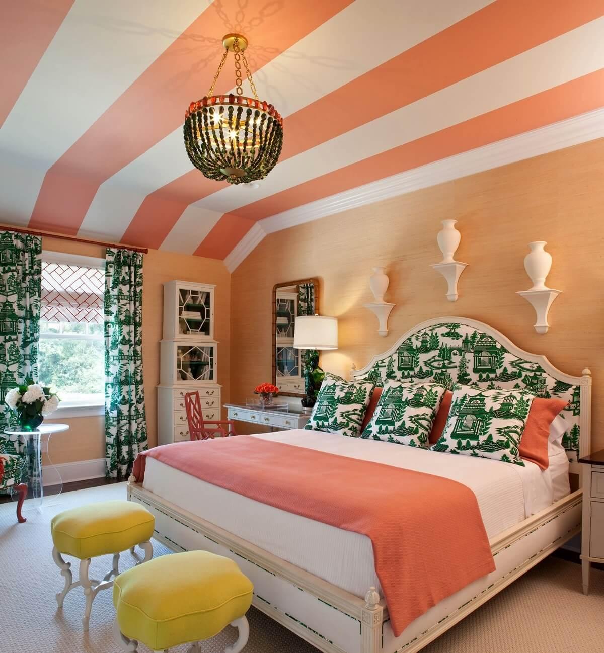 персиковый в сочетании с другими цветами в интерьере
