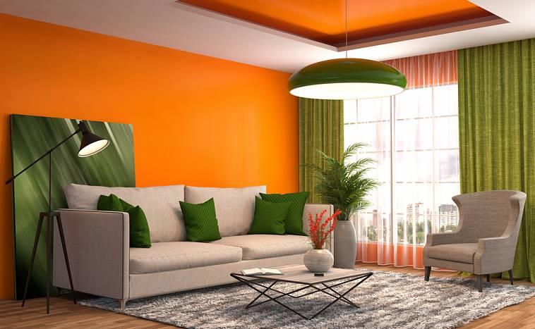 оранжевый и зеленый в интерьере