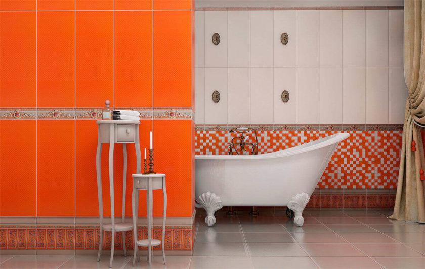 оранжевый в интерьере ванной