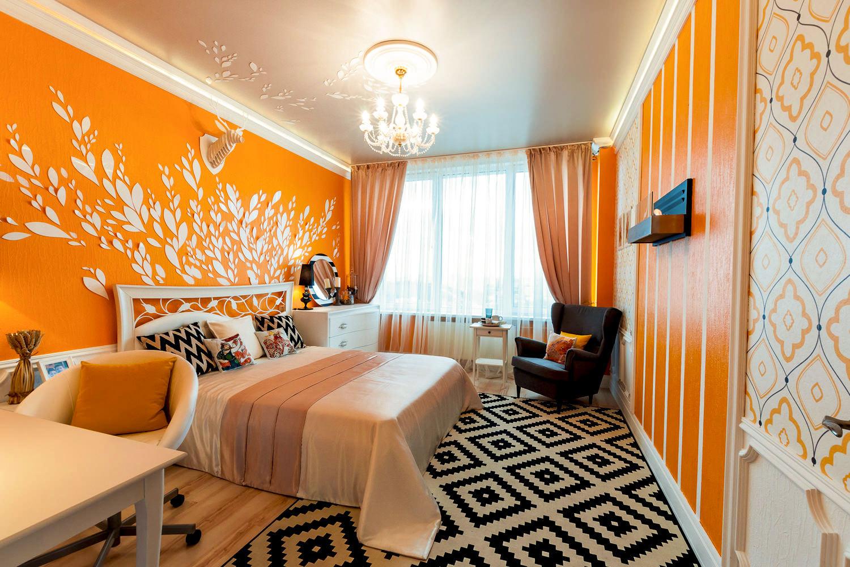 оранжевый в интерьере спальни