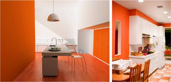 оранжевый и белый в интерьере
