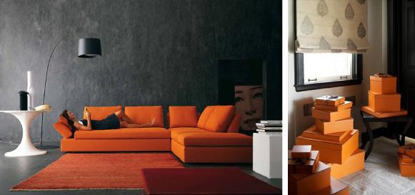 оранжевый и черный в интерьере