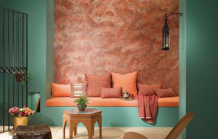 персиковый и бирюзовый цвет в интерьере