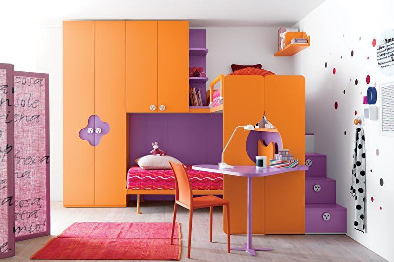 оранжевый и фиолетовый в интерьере