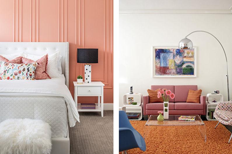 персиковый интерьер в современном стиле