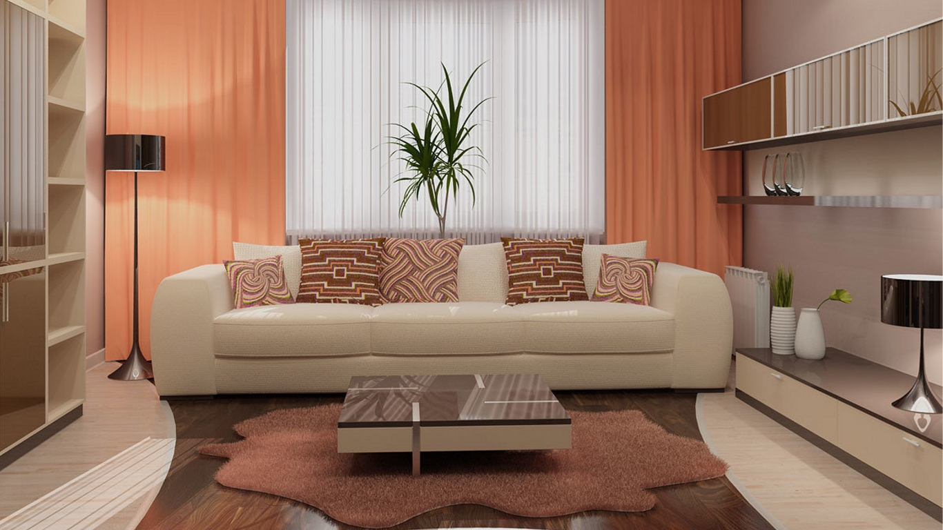 персиковый и кофейный цвет в интерьере