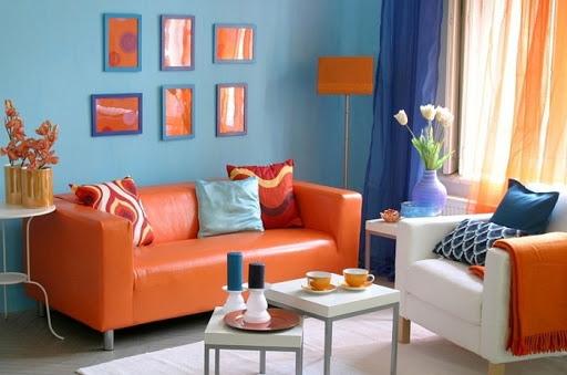 оранжевый и синий в интерьере