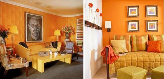 оранжевый и желтый в интерьере