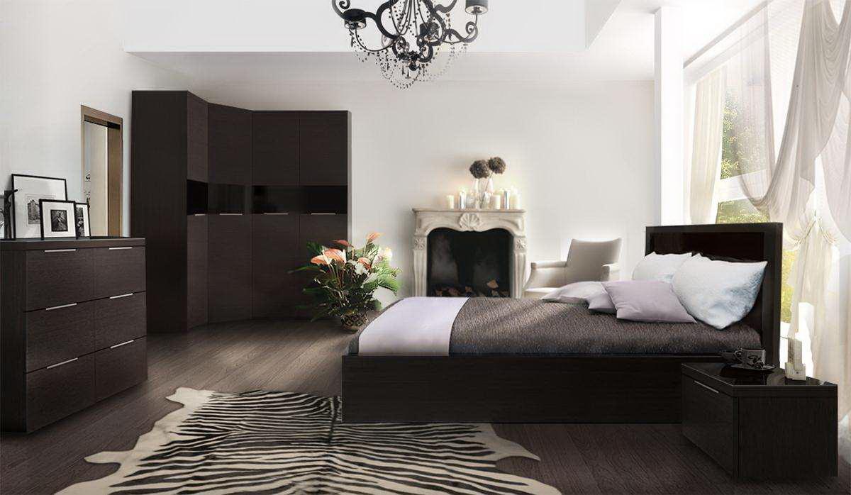 цвет венге в интерьере спальни