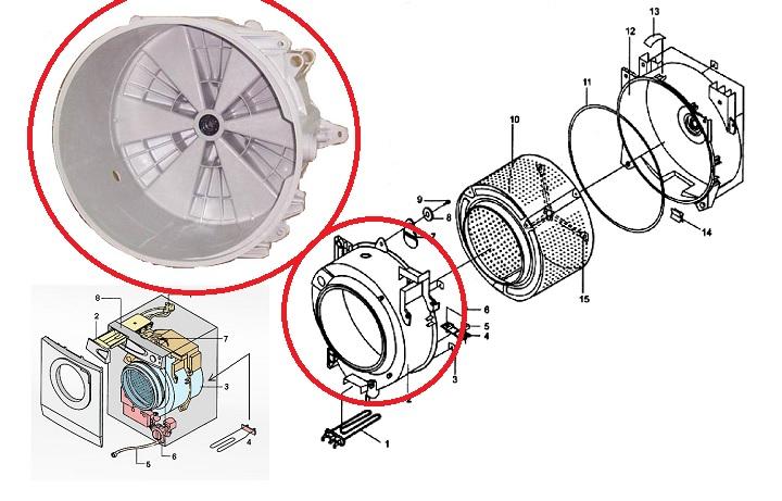 схема бака стиральной машины
